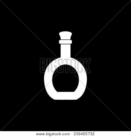 Liqueur Icon. Silhouette Liqueur Alcohol Bottle Vector Icon For Web Design Isolated On Black Backgro