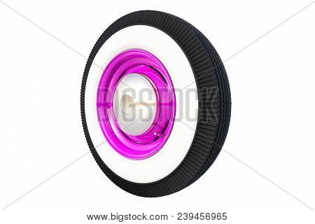 Purple Retro Car Wheel Isolated On White Background. 3d Render