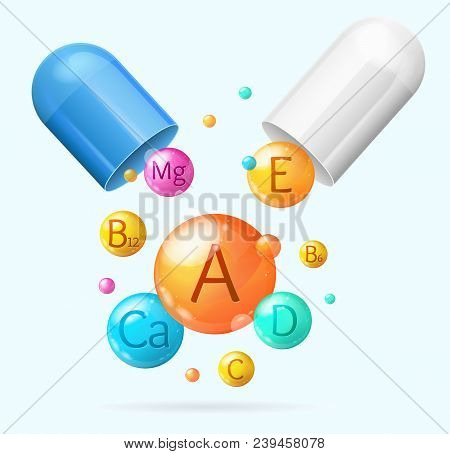 Realistic Detailed 3d Vitamin And Mineral With Pill Background Card Concept Healthy Nutrition Or Die