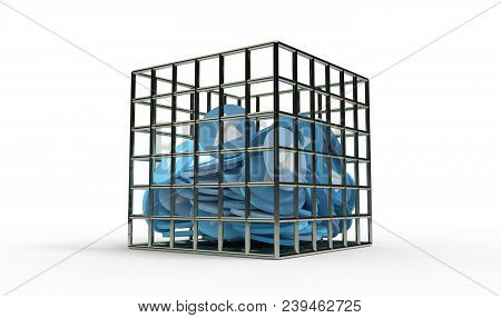 Blue Paper Plane Coins In The Jail 3d Illustration
