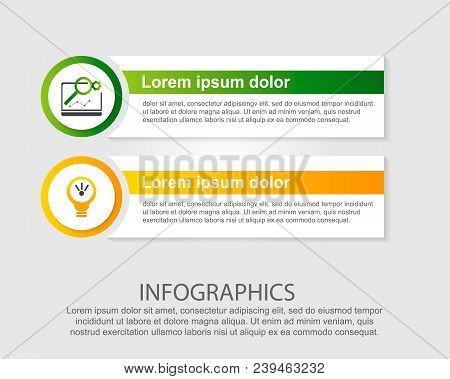 Modern Vector Illustration. Infographic Template With Two Elements, Circles And Text. Step By Step.