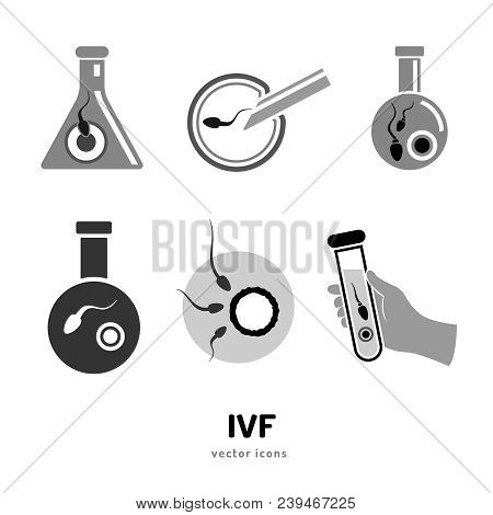 In Vitro Fertilisation Icons Set. Medical, Biological And Healthcare Collection. Artificial Insemina