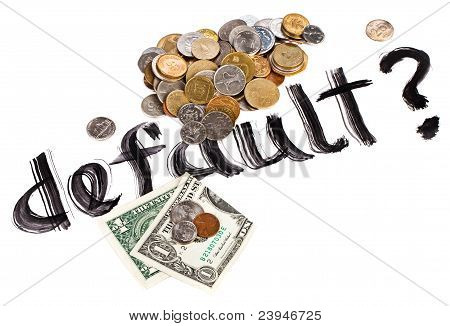Economy Crisis Of Usa Dollar Currency Concept Photo With Default Sign And Coins