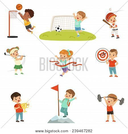 Cute Little Children Playing Different Sports, Footbal, Soccer, Golf, Basketball, Baseball, Archery,