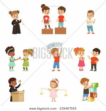 Kind And Fair Little Children Set, Kids Protecting Friends, Sharing With Each Other, Carrying Out Ju