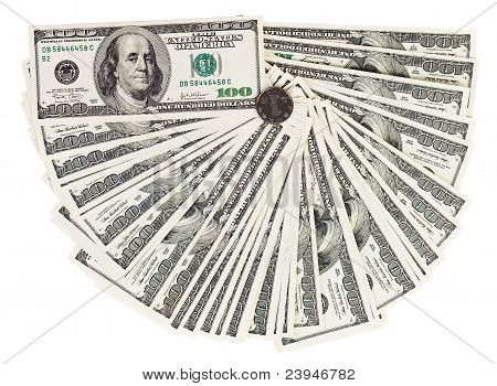 100 Usa Dollars Bank Notes Fanned Out On White With One Chinese Yuan Coin