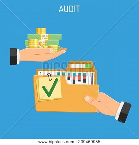 Auditing, Tax Process, Business Accounting Concept. Businessman Buys Audit Auditor Gives Folder With