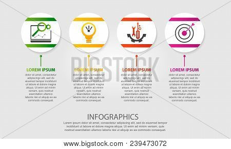 Modern Vector Illustration 3D. Template Of Circles Of Infographics With Four Elements. Designed For