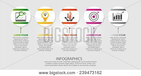 Modern Vector Illustration 3D. Template Of Circles Of Infographics With Five Elements. Designed For