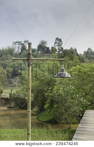 Lamp Along Walkway To Tropical Garden, Stock Photo
