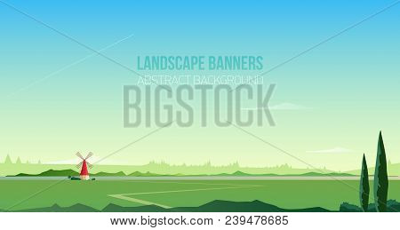 Horizontal Background Or Banner Template With Spectacular Rural Landscape Or Natural Scenery. Gorgeo