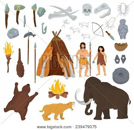 Primitive People Vector Mammoth And Ancient Caveman Character In Stone Age Cave Illustration Prehist