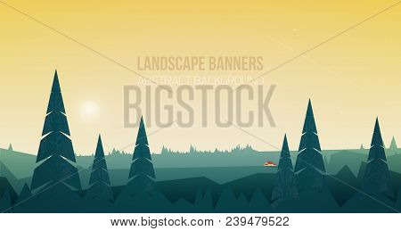 Horizontal Banner With Beautiful Forest Landscape Or Woodland Scenery. Spectacular View With Spruce