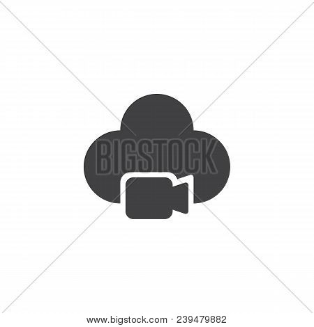 Video Camera Cloud Vector Icon. Filled Flat Sign For Mobile Concept And Web Design. Multimedia Data