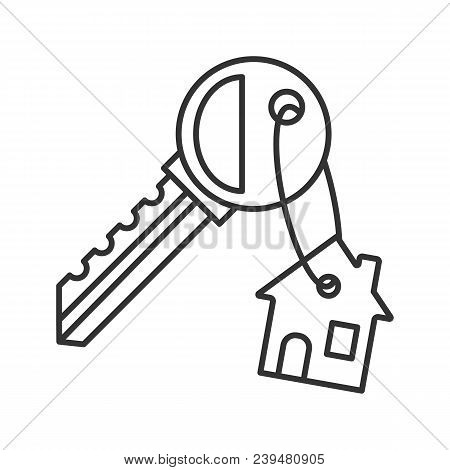 Key With Trinket House Linear Icon. Thin Line Illustration. Real Estate. Contour Symbol. Vector Isol