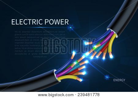 Electric Power Cables, Energy Electrical Wires Abstract Industrial Vector Background. Cable Energy,