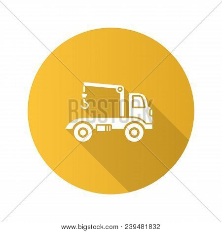 Tow Truck Flat Design Long Shadow Glyph Icon. Evacuator. Car Wrecker. Vector Silhouette Illustration