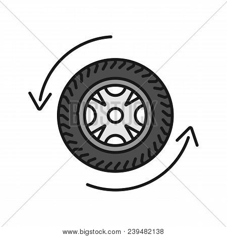 Automobile Wheel Changing Color Icon. Car Rim And Tire With Circle Arrow. Isolated Vector Illustrati