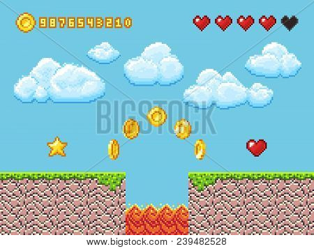 Video Pixel Game Landscape With Gold Coins, White Clouds And Red Hearts Vector Illustration. Game An