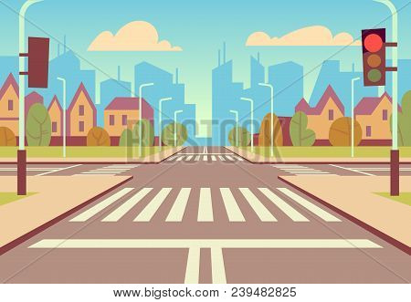 Cartoon City Crossroads With Traffic Lights, Sidewalk, Crosswalk And Urban Landscape. Empty Roads Fo