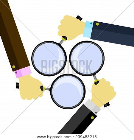 Magnifying Glass With Reflection And Hand Isolated On White Background. Magnify Icon In Flat Style D