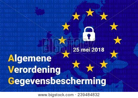 Avg Dutch Text, English Translation - Gdpr - General Data Protection Regulation. Vector Illustration