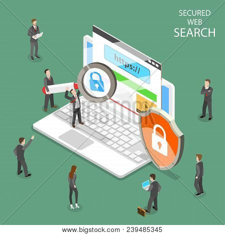 Secure Web Search Flat Isometric Vector. People Are Searching Information Through Internet Using Sec