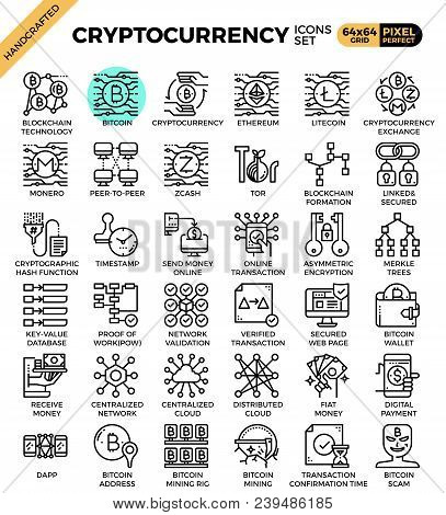 Cryptocurrency And Blockchain Technology Concept Icons Set In Modern Line Icon Style For Ui, Ux, Web