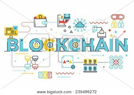 Blockchain Word Lettering Illustration With Icons For Web Banner, Landing Page, Essay, Etc.