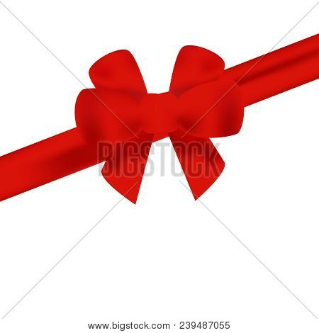 Red Bow With Red Ribbon Vector. Vector Set Of Bows. Gift Red Bows Pack