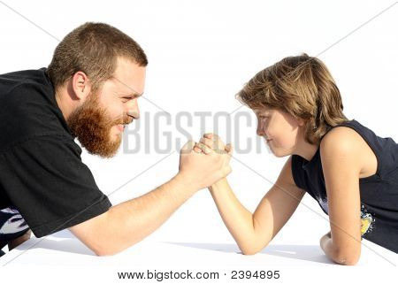 Arm Wrestling, Father And Son
