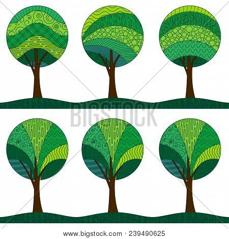 Horizontal Seamless Background, Symbolic Green Patterned Forest Trees With A Round Crown, Isolated O