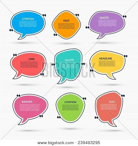 Quote Box. Vector Set Of Speech Bubbles, Text Frames. Can Be Used For Statement, Citation, Message,