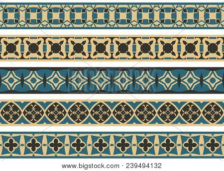 Set Of Five Illustrated Decorative Borders Made Of Abstract Elements In Beige, Turqoise And Black