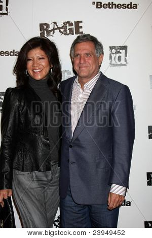 LOS ANGELES - SEPT 30:  Julie Chen, Les Moonves arriving at  the RAGE Game Launch at the Chinatown's Historical Central Plaza on September 30, 2011 in Los Angeles, CA