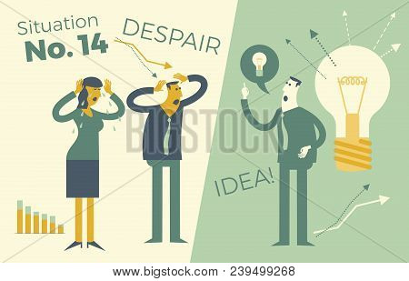 Business Infographics, Business Situations. A Man And A Woman Holding Onto A Head, A Problem, A Fail