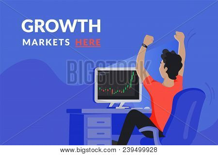 Happy Investor Sitting At His Home Workdesk And Looking At Computer Screen With Growing Market Graph