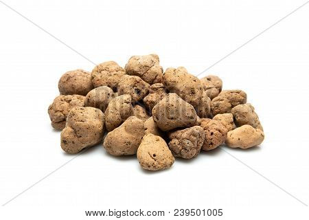 Lightweight Expanded Clay Aggregate, Isolated On White Background, Building Material. Also Called As
