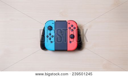 Thailand , Bangkok - May 7, 2018 Nintendo Switch Game Console On Table.