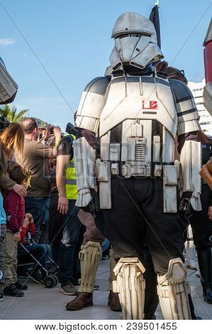 Malaga, Spain - May 05, 2018. Members Of The 501st Legion Spanish Garrison Dressed As Stormtroopers