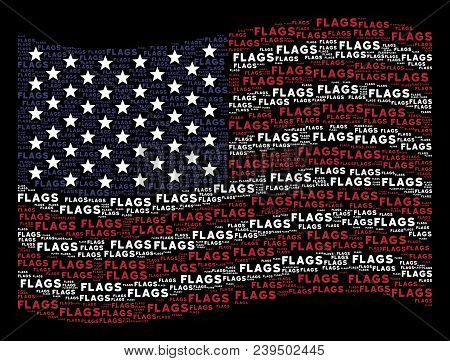 Flags Word Items Are Grouped Into Waving American Flag Stylization On A Dark Background. Vector Comp