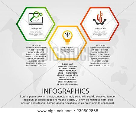 Timeline Modern Vector Illustration 3D. Infographic Template With Three Hexagon Elements. Designed F