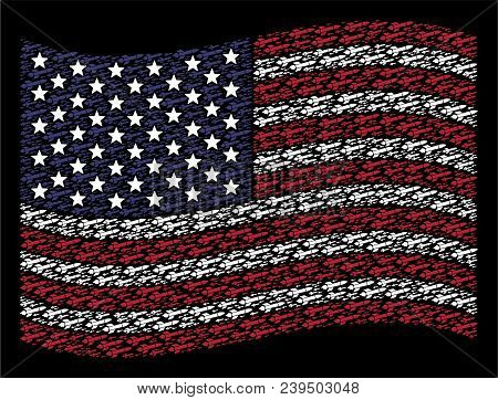Missile Launch Items Are Organized Into Waving United States Flag Abstraction On A Dark Background.