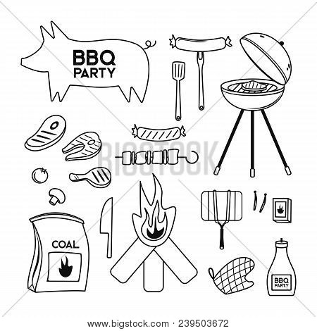 Bbq Grill Meat Barbecue Restaurant Party At Home Dinner Vector Products Skewer Grilling Kitchen Equi