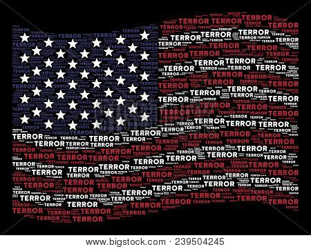 Terror Word Items Are Arranged Into Waving United States Flag Stylization On A Dark Background. Vect