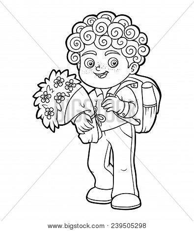 Coloring Book For Children, Schoolboy With Flowers