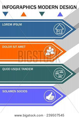 Infographic Template, Process In Four Steps. Minimalist Vizualization With Arrows, Icons, Copy Space