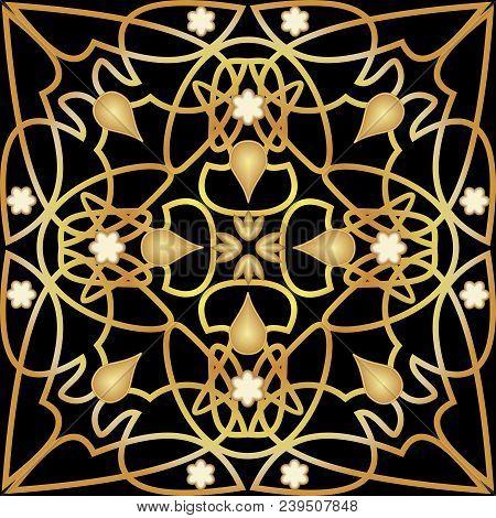 Black Tile With Luxurious Golden Art Deco Decor. Symmetric Golden Ornament With Plastic Elements. Vi