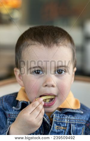 A Happy Baby Boy Eats French Fries. Fast Food. European. Boy 2 Years Old Close-up Eating French Frie