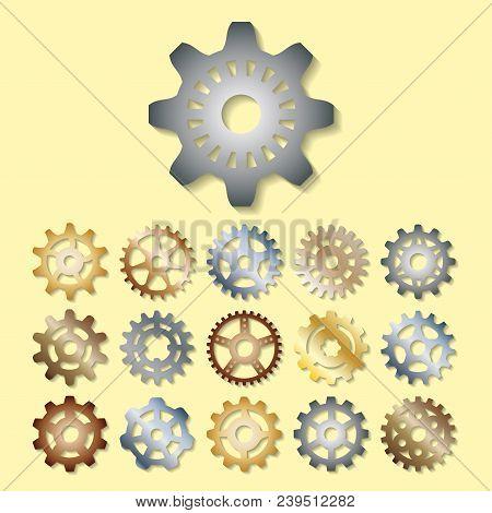 Gear Icons Vector Illustration Mechanics Gearing Web Development Shape Work Cog Sign. Engine Wheel E